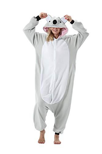 Erwachsene Jumpsuit Onesie Tier Karton Fasching Halloween Kostüm Sleepsuit Cosplay Overall Pyjama Schlafanzug, Grauer Koala, L