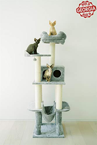 """PAWMONA 64"""" Multi-Level Sturdy Cat Tree-Cat Activity Center with Condo, Sisal-Covered Scratching Posts, Hammock, Observation Deck-Washable Cushion-European Quality-Light Grey-Great Gift for Cat Lovers"""