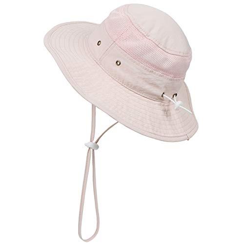 Yixda Baby Kinder Sonnenhut Fischerhut Mädchen Jungen Einstellbar Sommer Outdoor Hut (Rosa, 1-2 Jahre)