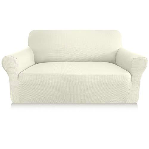 Granbest Elastischer Sofabezug, 1 Stück, dick, 2-Sitzer, kratzfest, rutschfest, Jacquard-Spandex-Stoff, elegantes Design, für Sofas (2-Sitzer, Farbe: Schmutzweiß)
