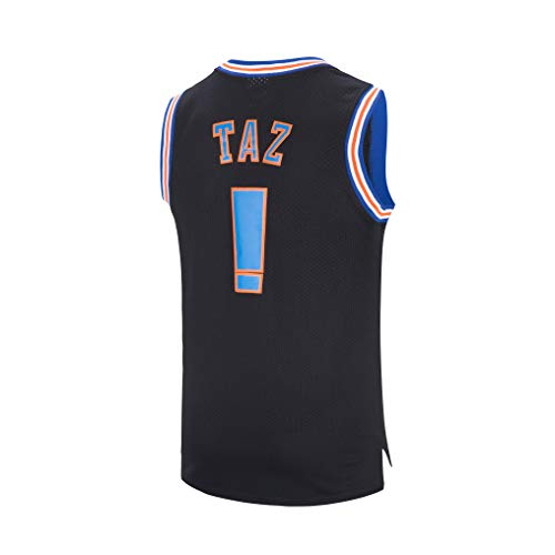 JOLISPORT Taz ! Space Movie Jersey Mens Basketball Jersey S-XXXL White/Black (Black, Medium)