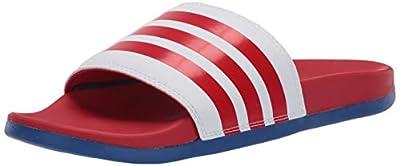 adidas Men's Adilette Comfort Slide, White/Scarlet/Team Royal Blue, 9