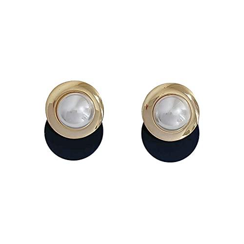DHDHWL Pendientes retro de moda perla círculo golpeado color marea neto celebridad nicho luz plata lujo aguja pendiente pendiente pendiente tendencia femenina (color: A)