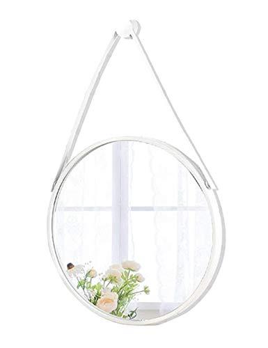 NYDZDM wandspiegel rond met verstelbare riem om op te hangen van ijzer | frame van metaal | badkamer gemonteerd aan de muur van de make-up spiegel om aan de muur te hangen