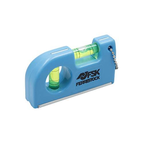 Ferrestock FSKNIM254 Niveau de poche avec 2 boucles, base magnétique et clip pour ceinture, fabriqué en aluminium et ABS, pour travaux de menuiserie ou de bricolage, 8,5 cm, bleu, 8,5 cm