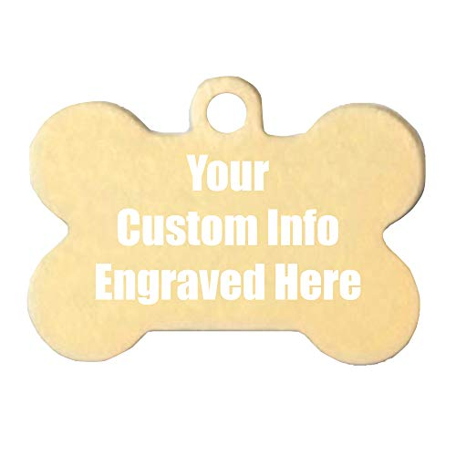 Hat Shark Custom Personalized 3D Laser Engraved Bone Shaped Pet ID Tag for Him, for Her, for Boys, for Girls, for Husband, for Wife, for Them, for Men, for Women, for Kids(Gold)