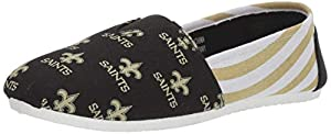 NFL New Orleans Saints Women's Canvas Stripe Shoes, Medium (7-8), Black