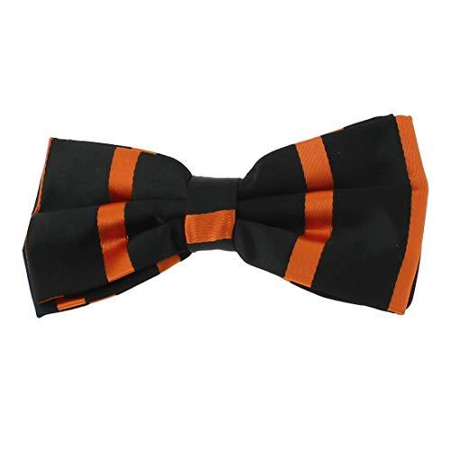 Clj Charles Le Jeune. Noeud papillon noué. URBANE CLUB, Microfibre. Orange, Club/rayé.