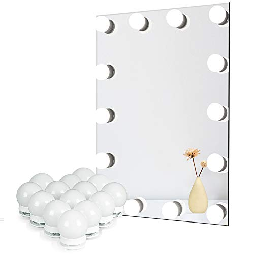 Waneway Vanity Lights for Mirror, DIY Hollywood Lighted Makeup Vanity Mirror Dimmable Lights, Stick on LED Mirror Light Kit for Vanity Set, Plug in Makeup Light for Bathroom Wall Mirror, 14-Bulb
