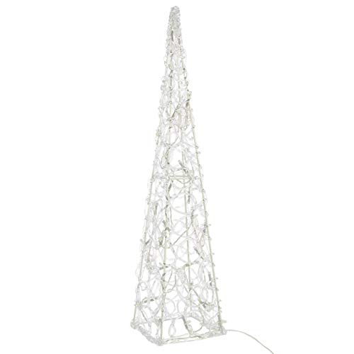 Nipach GmbH LED Pyramide Lichterkegel – Beleuchtung für Weihnachten innen außen – Acryl-Figur mit Trafo IP44 Timer – 30 Leuchten weiß 60 cm hoch Xmas-Deko