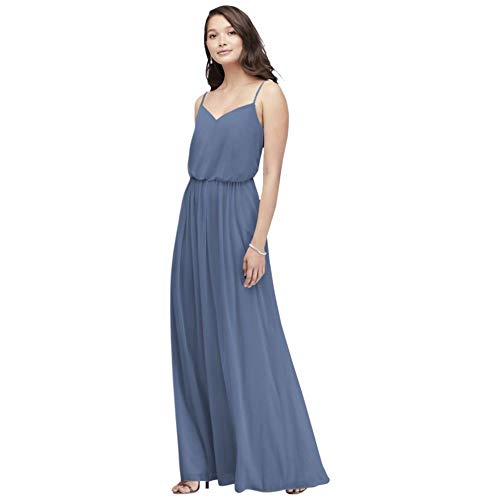 David's Bridal Spaghetti Strap Mesh Blouson Bridesmaid Dress Style F19903, Steel Blue, 16