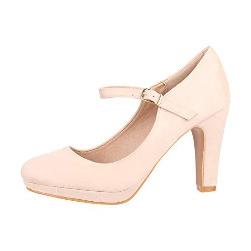 Elara Damen Pumps Riemchen High Heels Vintage Chunkyrayan New BL692 Beige-42