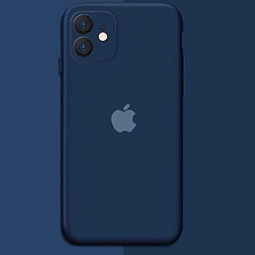 Capa Capinha Com Logo Apple Silicone Case Veludo iPhone 11 (Azul Marinho)