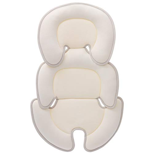 Innokids Head and Body Support Pillow Infant Car Seat Insert for Newborn to Toddler Stroller Cushion for Baby Shower Gifts (Beige)