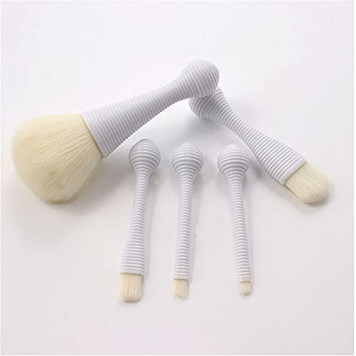 Chiox Juego de 5 brochas de maquillaje Lollipop para base de maquillaje con brocha de maquillaje para sombra de ojos, set de maquillaje portátil (D)