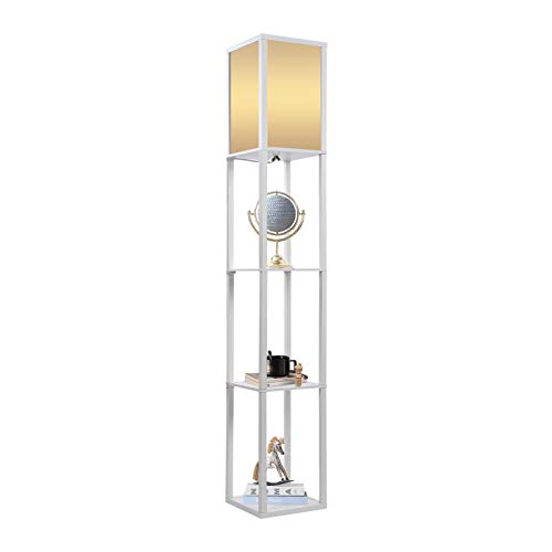 Modern Oak Wooden Floor Lamp 3 Layers Wooden Fabric Floor Lamp Shelf Standing Light Reading Lamp with Shelves Units for Bedroom, Living Room, Office, Home Decoration, 159 x 26 x 26 x cm(White)