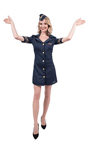 ORION COSTUMES Damen Sexy Stewardess Uniform in Blau Kostüm