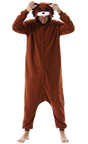 Jumpsuit Onesie Tier Karton Kigurumi Fasching Halloween Kostüm Lounge Sleepsuit Cosplay Overall Pyjama Schlafanzug Erwachsene Unisex Braun Bär for Höhe 140-187CM Damen Herren