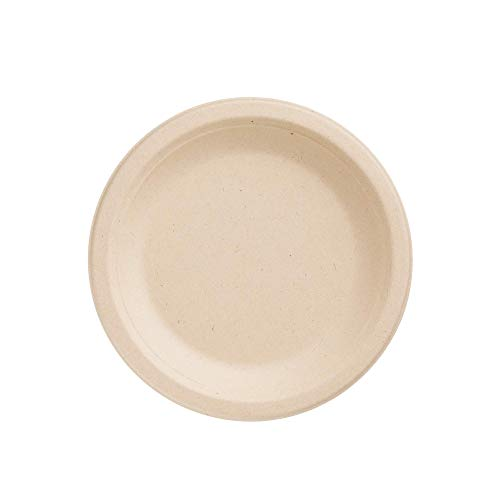 HARVEST PACK 7-inch Round Disposable Compostable Paper Plates, Made From Eco-Friendly Plant Fibers [125 COUNT]
