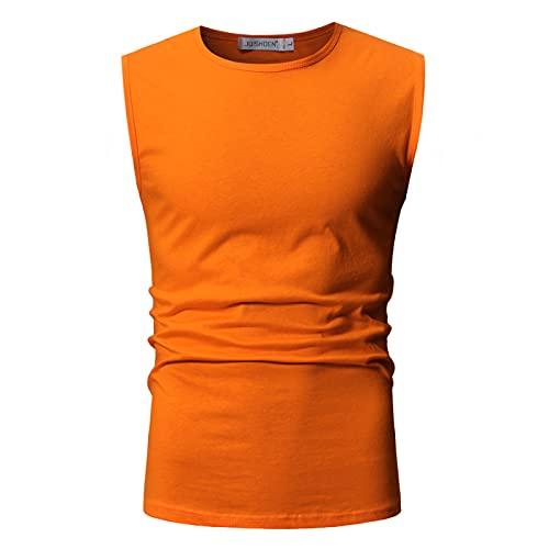 LSSM Verano Color SóLido AlgodóN Sin Mangas Cuello Redondo Manga Corta Camiseta Moda Chaleco Deportivo Transpirable Hombre Hombre 3D Estampada Funky Camisas Manga Corta Naranja XL