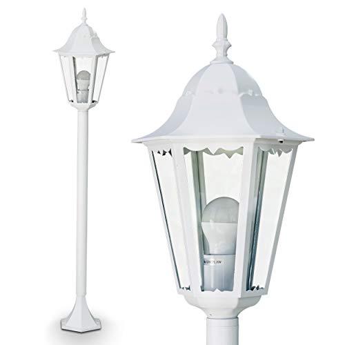 Außenleuchte Hongkong, Stehlampe in antikem Look, Aluguß in Weiß mit Klarglas-Scheiben, Wegeleuchte 120 cm, Retro/Vintage Gartenlampe, E27-Fassung, max. 100 Watt, IP44