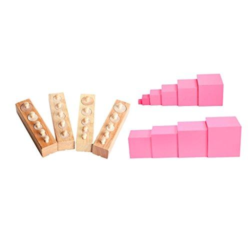 IPOTCH Montessori Torre de Color Rosa + 1 Conjunto de Bloques de Cilindro Mejora de Coordinación de Mano Ojo de Bebés