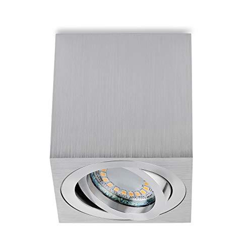 sweet-led Aufbauleuchte Rund-Eckig inkl. GU10 5W 450 Lumen 3000K 230V Aufbaustrahler Deckenleuchte Aufputz Alu-gebüstet schwenkbar Strahler Deckenlampe Unterbauleuchte aus Aluminium (Eckig-silber)