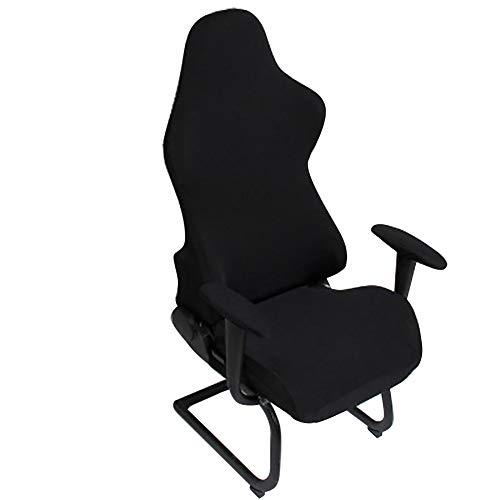 HOMYY Housses de chaise de gaming, ergonomiques et élastiques, extensibles, pour ordinateur de bureau, chaise de jeu d'ordinateur, de course, de bureau (noir)