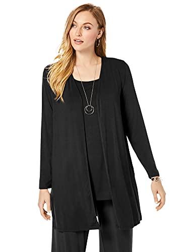 Jessica London Women's Plus Size Open-Front Cardigan - 18/20, Black