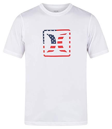 Hurley Americana Rashguard Rash Guard - Camicia da Uomo a Maniche Corte, Uomo, Maglietta Rash Guard, MRG0001420, Bianco, L