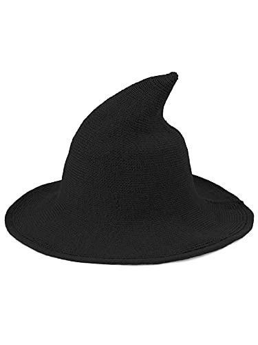 Century Star Women Witch Hat for Halloween Wool Hats Wide Brim Spire Knitted Cap Party and Daily Black One Size
