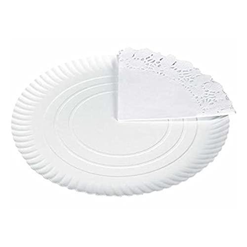 Pack de 6 bandejas de cartón con blonda circular, color blanco, juego de 6 bandejas de repostería con blonda en color blanco diámetro 30 cm