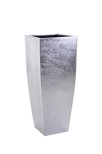 VIVANNO Pflanzkübel Pflanzgefäß Blumenkübel exklusiv Silber Linea - 100 x 40 x 40 cm