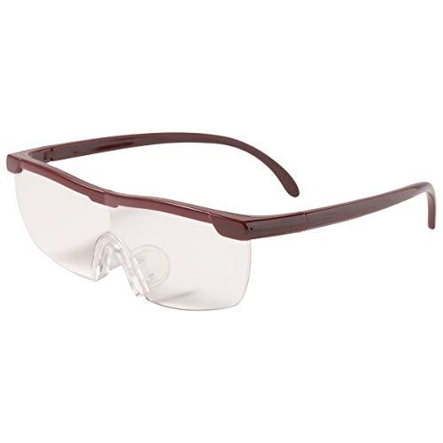 MIDI-ミディ メガネ型 ルーペ (拡大倍率 1.6倍) 専用 ハードケース セット 眼鏡の上からかけて 両手が使える 拡大鏡 ワイン (lp001c3)