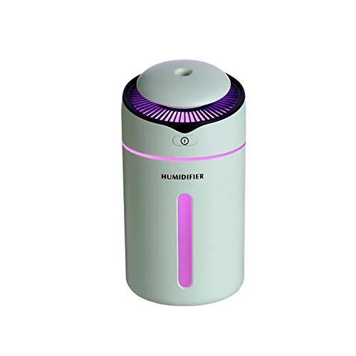 LHTY Humidificador de Niebla fría de 300 ml, humidificador portátil de Escritorio para el hogar Función de luz Nocturna con Puerto de Cargador USB Humidificador de Agua Máquina de oxígeno,Verde