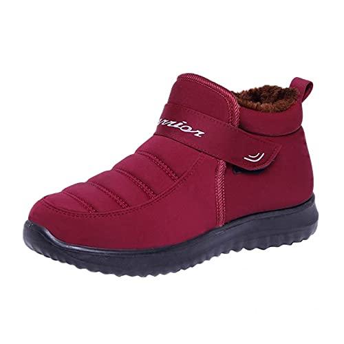 JDGY Botas de invierno para mujer, botas de nieve impermeables térmicas, botines planos, botines cálidos, forrados, antideslizantes, botas de nieve Plus terciopelo para exterior, rojo, 36 EU