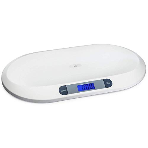 20KG/44LBS Electronic Digital Baby Weighing Scale Measure Infant/Baby/Pet Weight Accurately, Precision of 10g, Length 55cm, Large LCD Display, Weight Measure Tool White