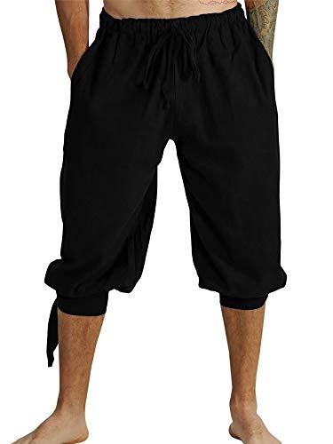 Fueri Herren 3/4 Hose Herren Freizeithose Pluderhose Yoga Hose Kurz Sommer Schnürung Hose Baumwolle Lose Casual Strandhose Retro Vintage Shorts, A-Schwarz, M