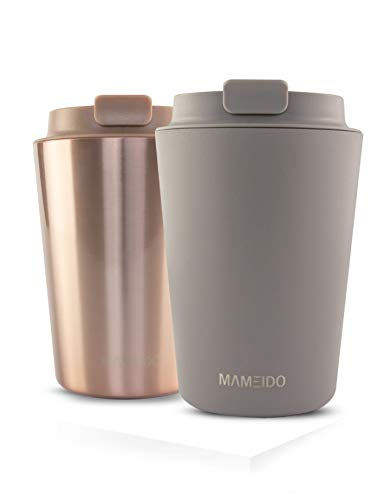 MAMEIDO Thermobecher Taupe Grau New 350ml 0,35l - Kaffeebecher, Edelstahl doppelwandig isoliert, auslaufsicher, Coffee to go, Isolierbecher Travel Mug Kaffee & Tee