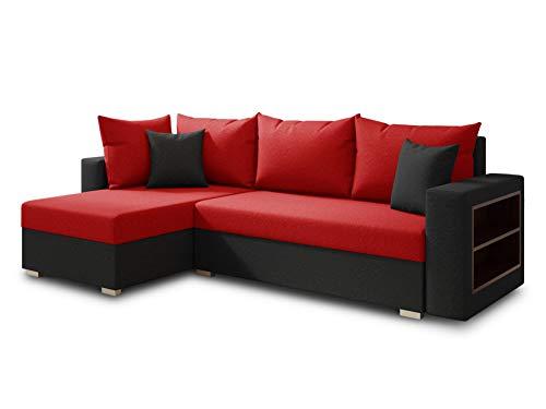 Ecksofa Lord mit praktischen Regal - Sofa mit Bettkasten und Schlaffunktion, Schlafsofa, Polsterecke, Couch L-Form, Couchgarnitur, Sofagarnitur (Schwarz + Rot (Alova 04 + 46), Ecksofa Links)