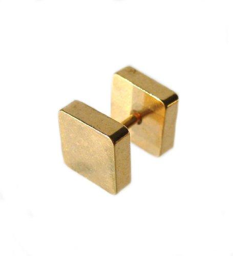 Elegir su tamaño perfecto 316l acero cuadrado oro hombre enchufe falso 18 G del pendiente