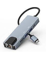 USB TypeC ハブ 5 in 1 Lemorele 4K対応 USBC HDMI アダプターLANポート PD充電対応 ドッキングステーション MacBook Air 2020 Surface Go 2 Chromebook Pixelなどに対応