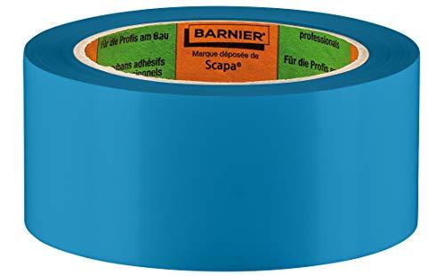 Barnier PVC Putzerband Typ 6097 | Holz-Schutzband 50 mm 33 m blau glatt | PVC-Schutzband für glatte und leicht raue Untergründe | PVC Klebeband für Innen und Außen | Klebeband Verputzerband