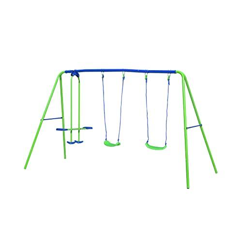 Altalena per Bambini da Esterni in Metallo 2 Seggiolini e 1 Dondolo Outdoor Toys 280x140x180 cm Blu e Verde 3-8 Años
