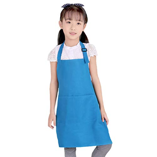 Nanxson Kids Apron 7-13 Year Adjustable Child Bib Aprons with 2 Pockets for Kitchen Cooking, Baking, Painting AL8025 blue