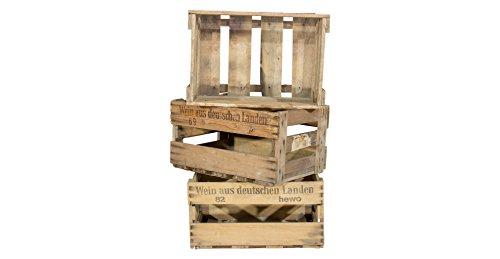 """Vintage-Möbel24 GmbH 3er Set alte Weinkiste mit Aufdruck """"Wein aus Deutschen Landen"""" - gebrauchte Holzkiste Obstkiste Weinregal aus Holz Weinlagerung 46x30,5x24cm"""
