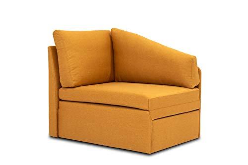 DOMO. collection Delta Sofa, Schlafsofa, Schlafsessel, Gästebett, tiny couch, Ecksessel, gelb, 116x81x83 cm