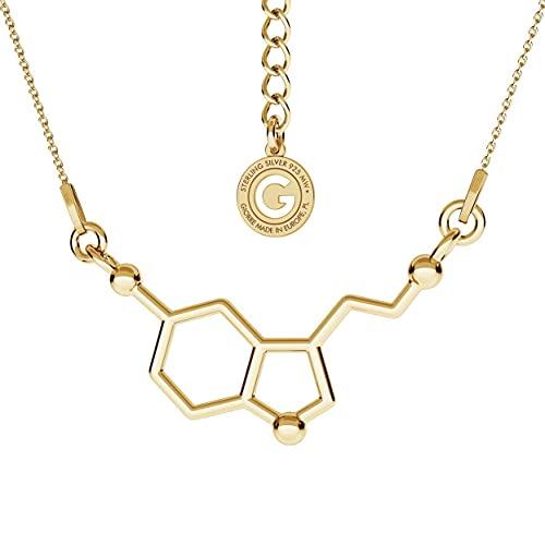 GIORRE Serotonin 925 Sterlingsilber Gelbgoldbeschichtet Hypoallergen Halskette für einen Chemiker an einer Ankierkette, 45 cm und 5 cm