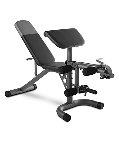 Weider XRS 20 Adjustable Workout Bench with Preacher Curl Pad, Leg Developer, and 610 Lb. Total Weight Capacity