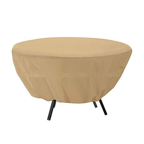 FCZBHT Couverture de Meubles Prime De Plein Air Jardin Housse De Table Ronde Imperméable Anti-UV, Disponible Toute L'année Garde poussière (Couleur : Brown, Taille : 127 * 58cm)